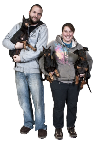 Kennel Owners Lale & Matt and the Manchester Terrier Crew